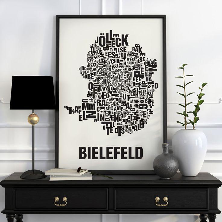 Die Bielefelder Stadtviertel, von Sennestadt bis zum Kamphofviertel, von Brands Busch bis zum Komponistenviertel.Buchstabenorte zeigen die Bezirke einer Stadt i