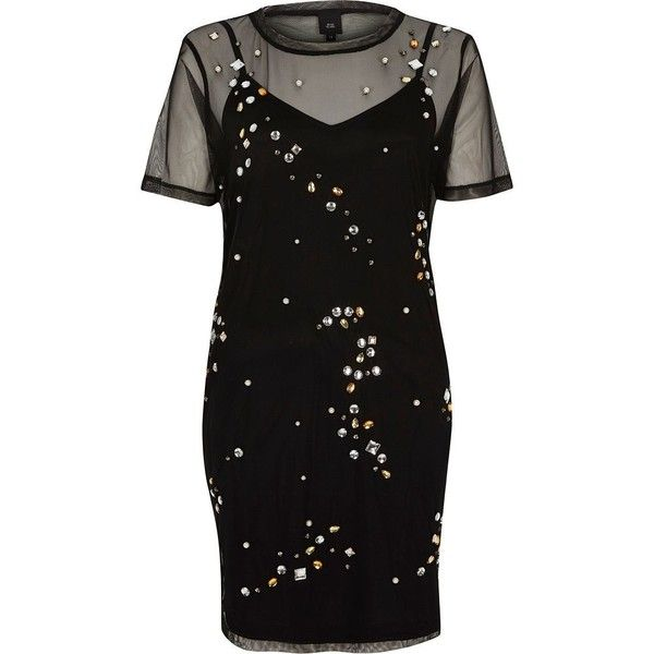 River Island Black mesh embellished T-shirt dress ($76) ❤ liked on Polyvore featuring dresses, mesh dress, mesh tshirt dress, embelished dress, crew neck t shirt dress and short sleeve dress