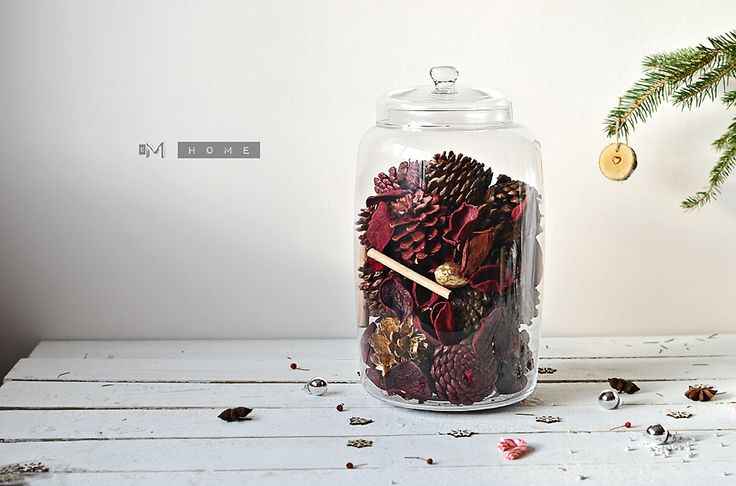 GLASS JAR with Christmas Scented Cones. www.em-home.co.uk