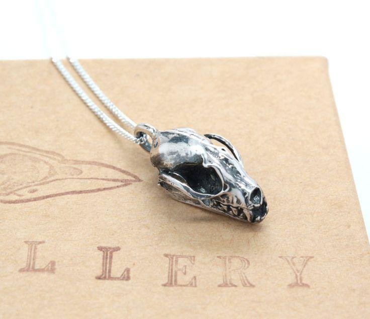 sterling silver bat skull necklace