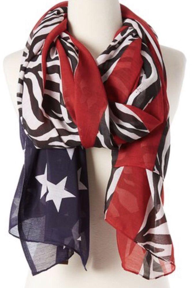 Raj 100% Cotton BLACK ZEBRA FLAG SCARF Red Blue Black White Anthropologie Shawl  | eBay