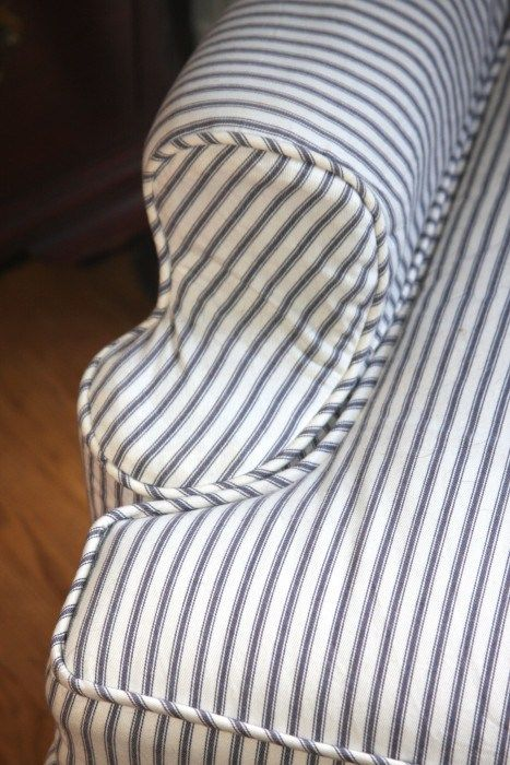 Slipcovers Navy Blue Ticking Stripe Fabric Was Used For
