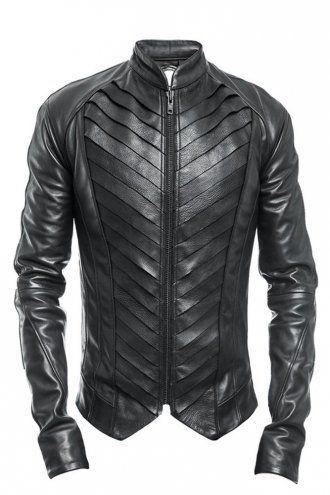 Delusion Splice Leather Jacket Black