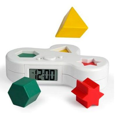 Puzzle Alarm Clock - When the time comes, the clock launches three puzzle pieces into the air. You must return all three pieces to their matching holes before you can shut off the alarm.  Cross your fingers as you fall asleep, hoping the pieces don't fall behind your dresser or roll under your bed.