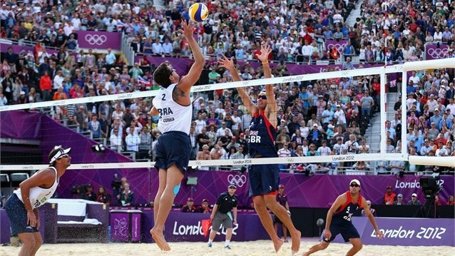 Brazil v Team GB in men's Beach Volleyball preliminary#