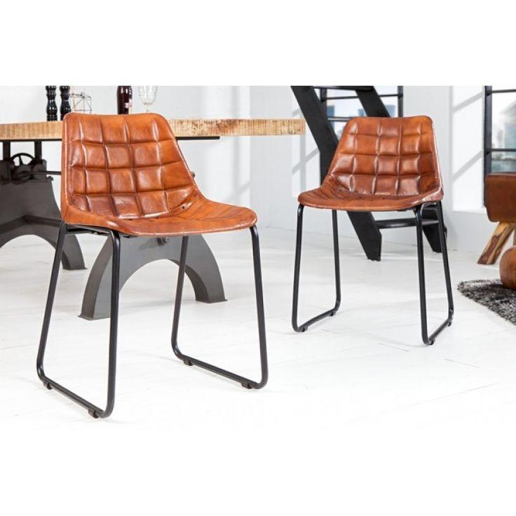 Design stoel bruin leder ijzer - 36820