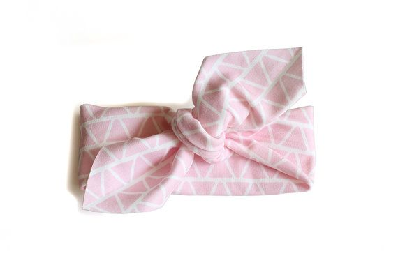 Baby Headband  Pointed End  Triangles Pale Pink  by oubaaustralia