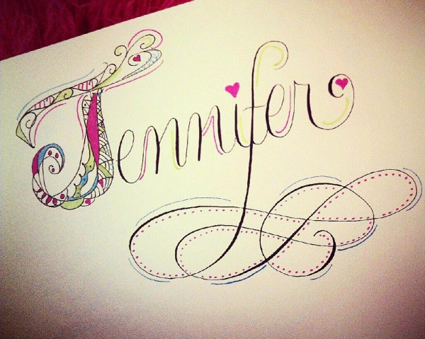 Colorful illustrated name mixed with calligraphy perfect