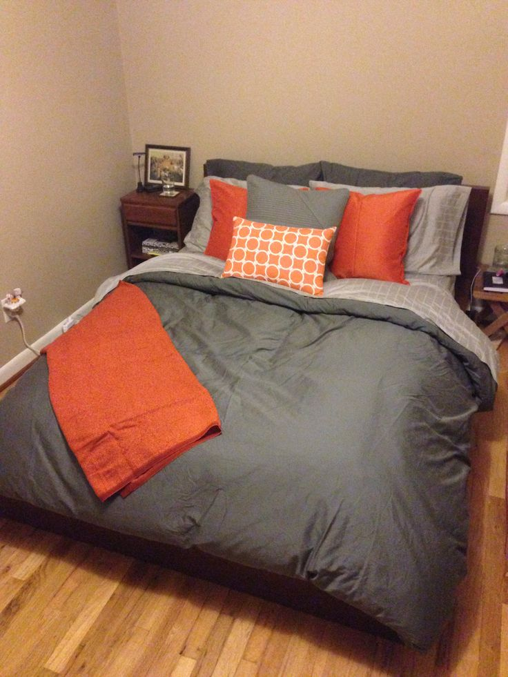 grey and orange bedding
