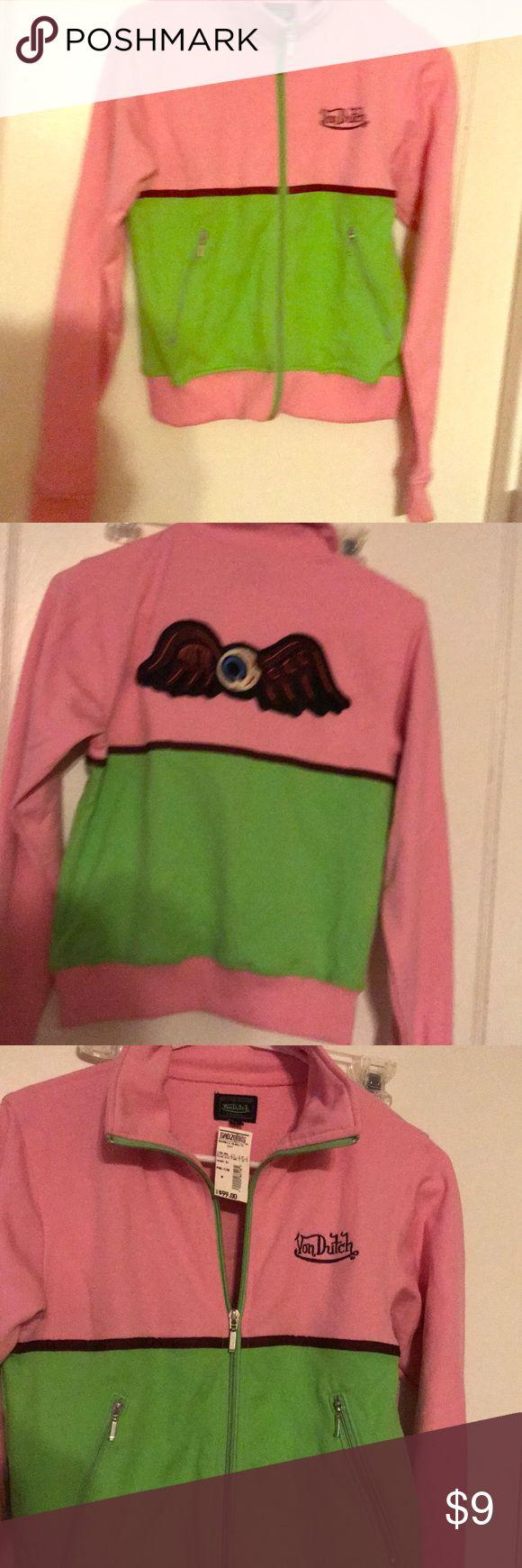 New com Dutch pink green zip up New von Dutch Von Dutch Sweaters Cardigans