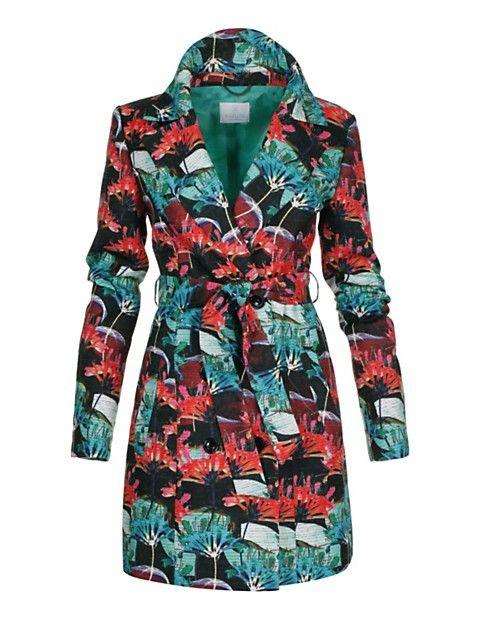 Kurzer Trench-Coat mit farbigem Print | MADELEINE Mode Schweiz