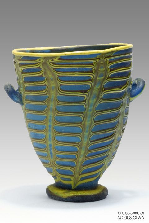 Polychrome glass cup, Period: Egypt, New Kingdom, Dynasty 18. 1370–1335 BC. Egypt, Middle Egypt, El-Amarna [Akhetaten]
