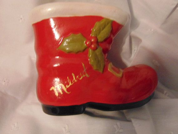 1 Ceramic Christmas Santa Boot VIntage by Minniessimplechristm  Personalized if your name is Mildred.