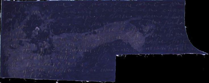 """autore: Francesca Scammacca - """"C'è questo in me"""" - candeggina su velluto - cm 124x45,5 circa - 2001"""