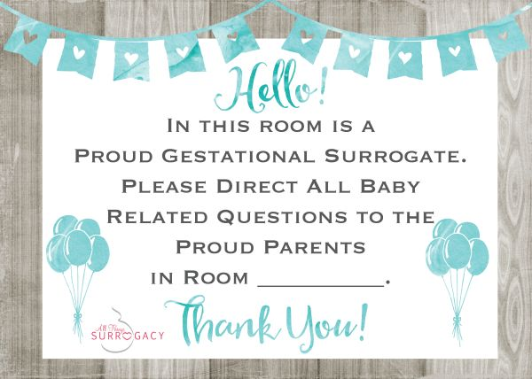 Surrogate Hospital Door Sign FREE Printable!!