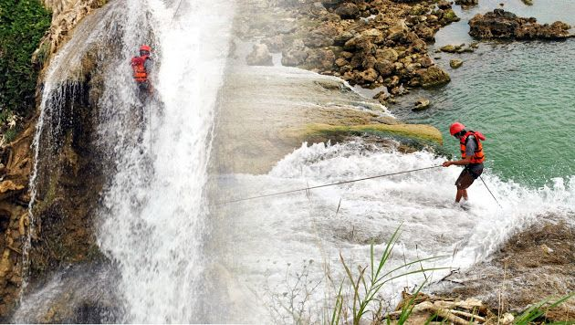 This is my adventure. Canyoning in a place of Madura island, Est Java, Indonesia. there is Toroan water fall (Air terjun Toroan).
