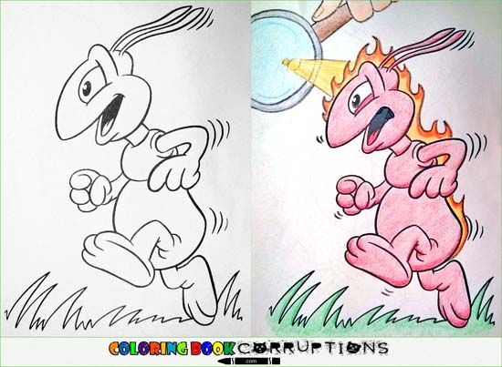 Innocent Childrens Coloring Book Pages Defaced And Turned Into Something Sinister Awesome