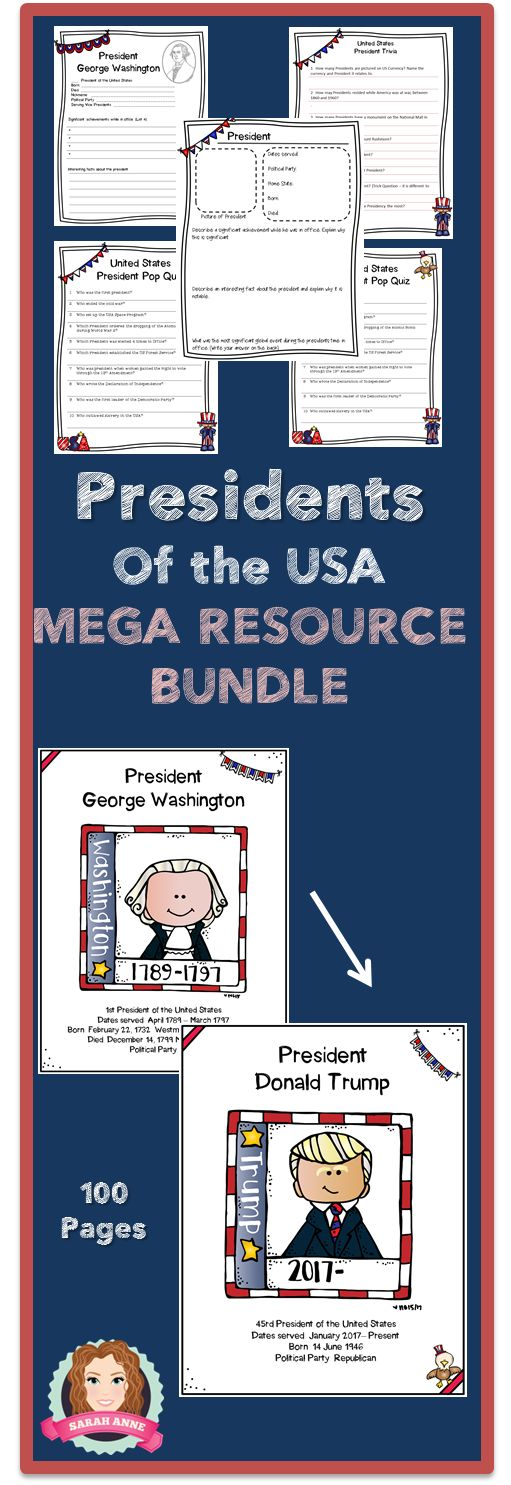 Activity and Resource Bundle. 2017 Update Writing Prompts, Pop Quiz, Trivia, Research Assignments, Flash Cards and 45 Poster bundle.  George Washington to Donald Trump.  #POTUS #Presidents #Day #Trump #Washington #Social #Studies #history #highschool #middleschool #2017