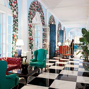 Stay at The Greenbrier Resort | Decorator Dorothy Draper's magnum opus, located in White Sulphur Springs, West Virginia. Est. 1778