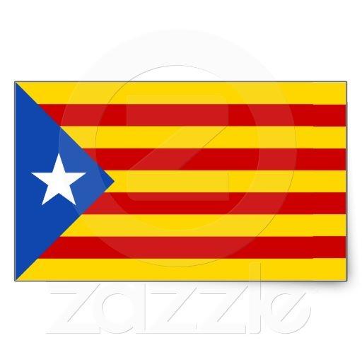"FOUR ""L'Estelada Blava"" Catalan Independence Flag Rectangle Stickers"