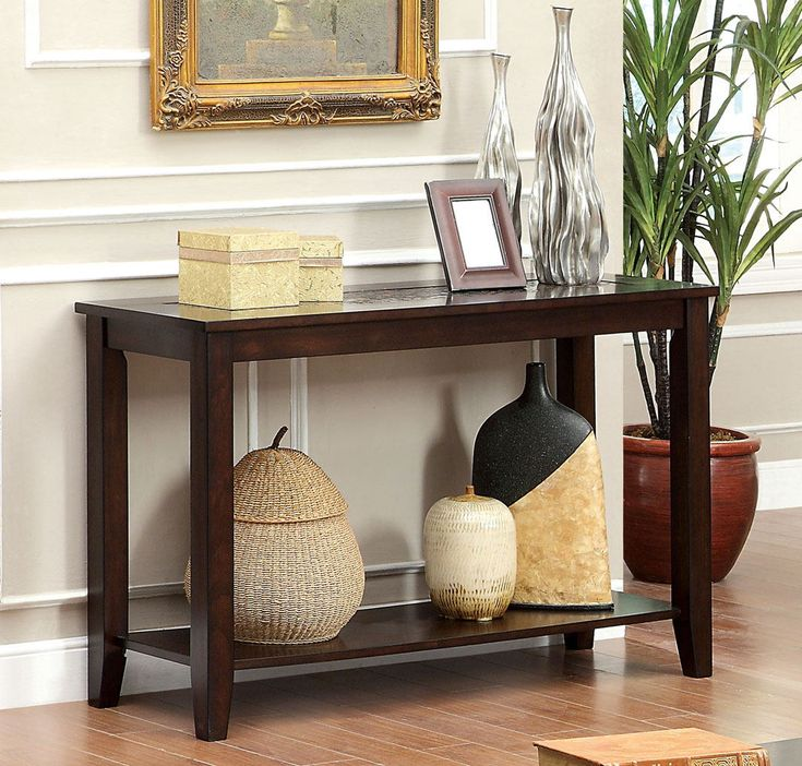 Townsend iii transitional stylings dark cherry finish wood sofa console entry table with mosaic tile top