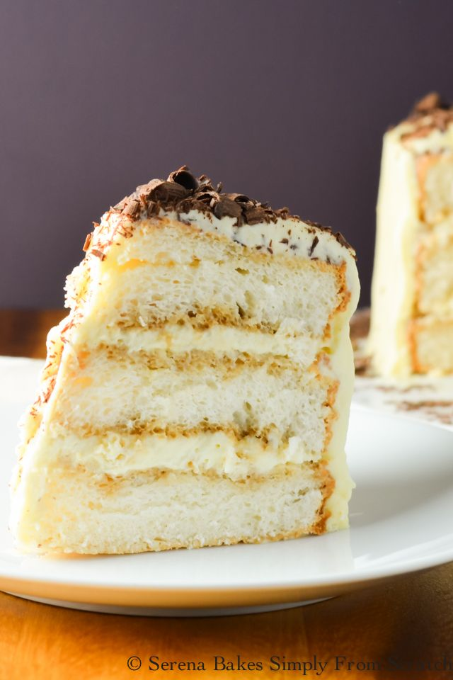 TIRAMISU ANGEL FOOD CAKE  Tiramisu Angel Food Cake consists of light airy layers of angel food cake, liquor infused espresso, creamy marscapone filling, and topped with chocolate curls.