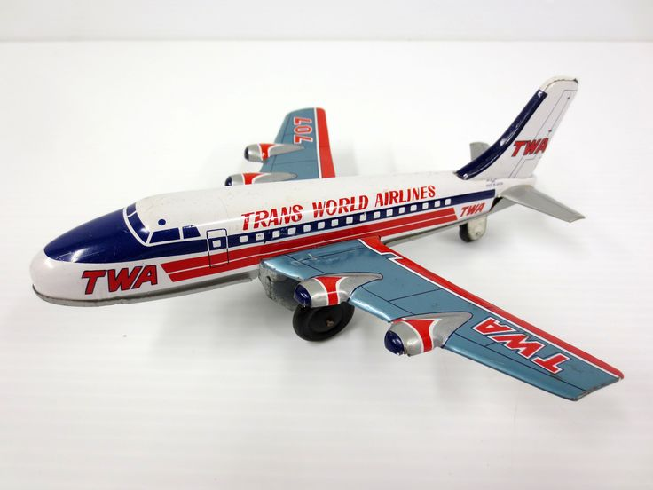 "Vintage TWA Airlines Boeing 707 Tin Toy Airplane 7"" by K Koyo Kinzoku, WORKS"