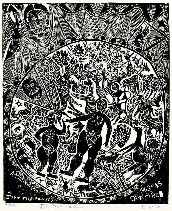 Adam and Eve (linocut) by John Muafangejo