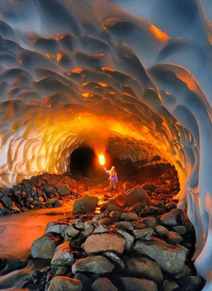 Ice cave, Mutnovsky volcano area, Kamchatka Peninsula, Russia