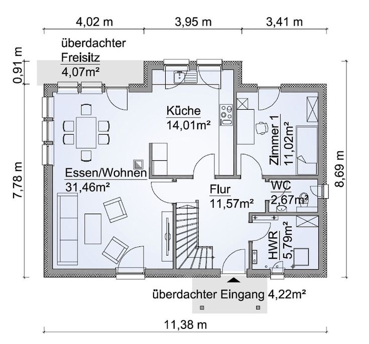 Fertighaus Grundriss Erdgeschoss rechteckig mit Erker