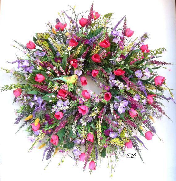 Spring Garden Wreath-Wildflower Wreath-Tulip by SeasonalWreaths