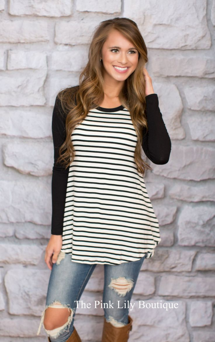 In The Line Stripe Tunic Black - The Pink Lily Boutique