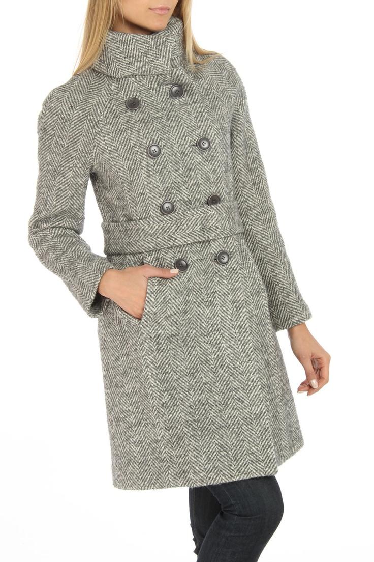 FURI Herringbone Coat In Gray