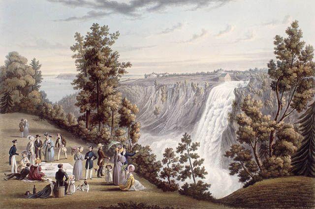 Les chutes Montmorency, Québec, 1833. Bibliothèque et Archives Canada, no d'acc 1989-279-12.