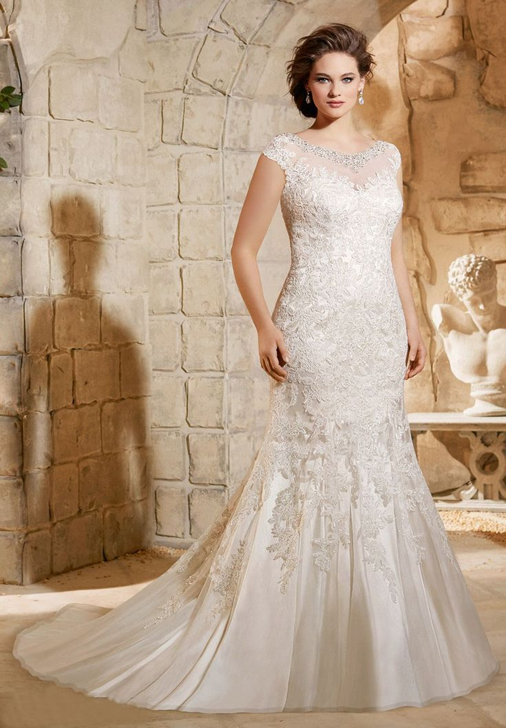 Mori Lee Julietta 3188 Dress Embroidered Lace Cap Sleeve Illusion Neckline