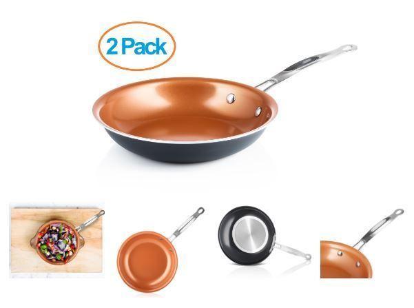 Set of 2 Nonstick Titanium Copper Fry Pan 9.5 Inch Ceramic Coating Kitchen Cook #ChefsStar