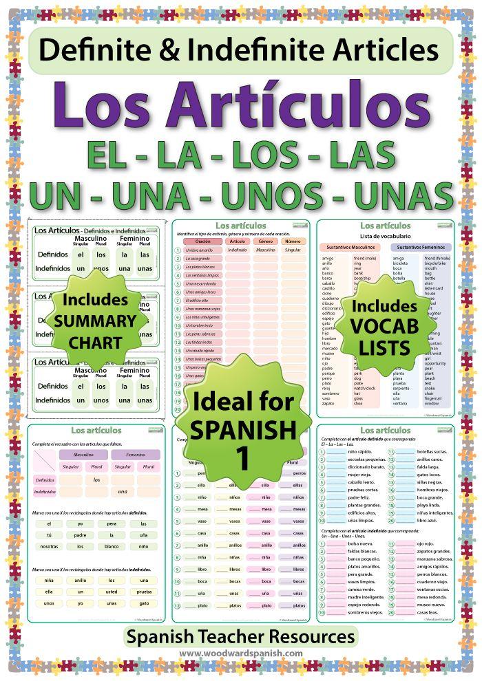Spanish Articles Worksheets - Los artículos definidos - Los artículos indefinidos.