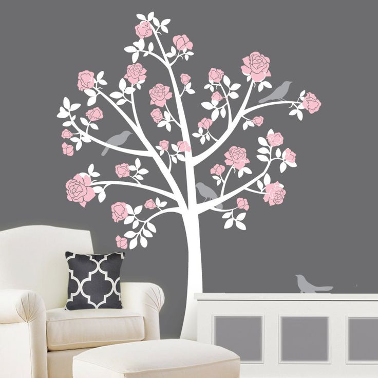 Tree Wall Decals Chinoiserie Rose Tree Flower Girl