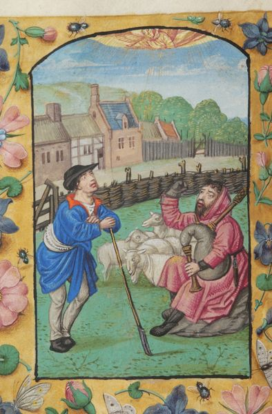 Book of Hours, M.363 fol. 74v - Belgium, Bruges, between 1500 and 1526 - Shepherds: Annunciation
