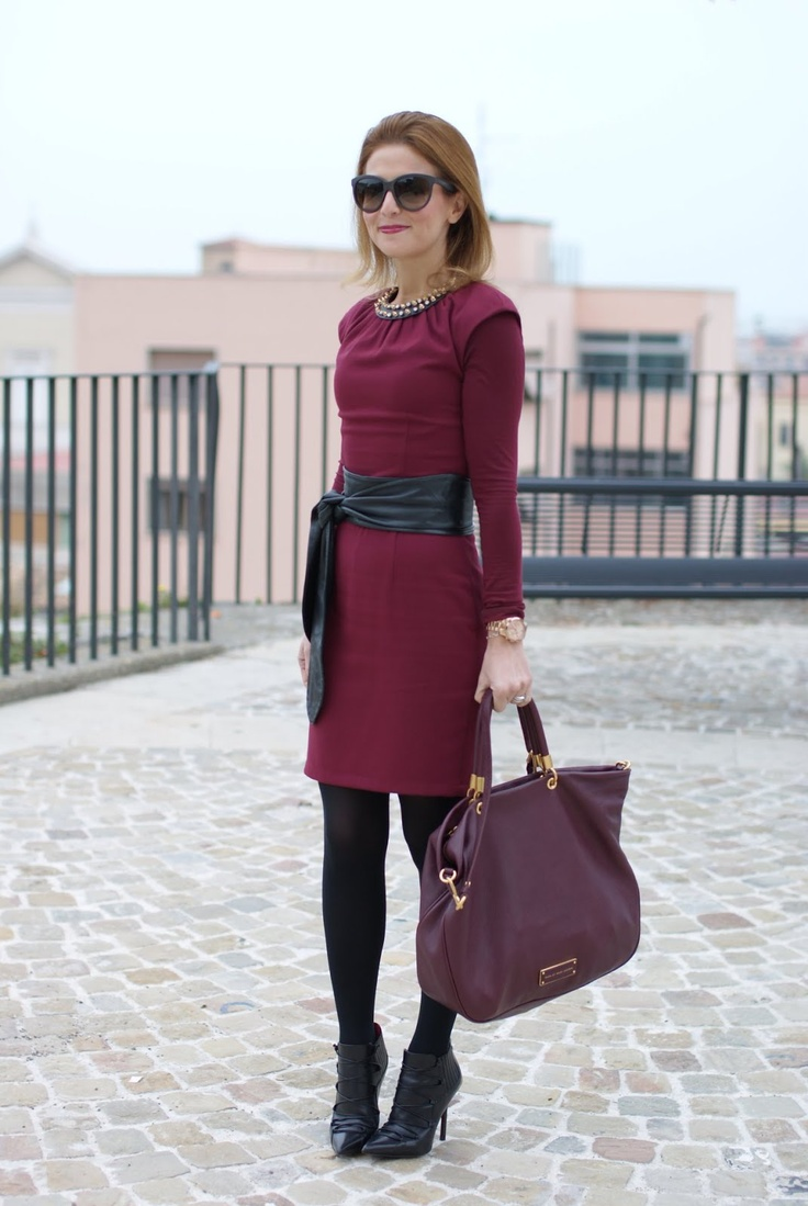 burgundy dress, oxblood dress, Marc by Marc Jacobs tote