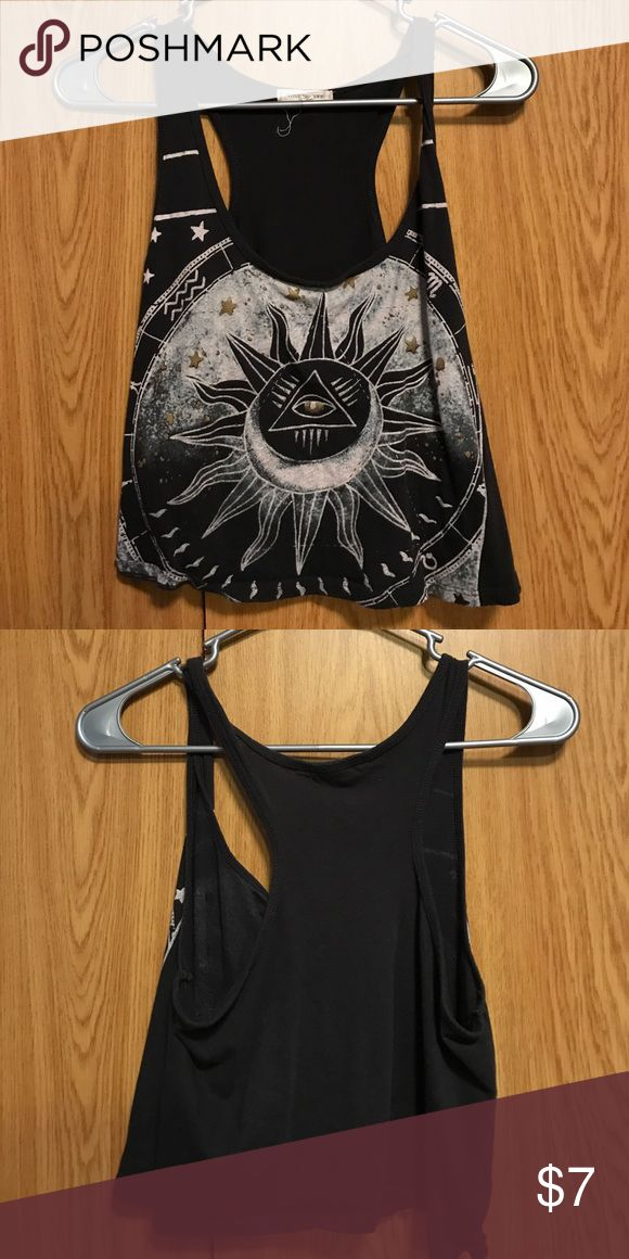 Black racer back crop top No signs of wear. Smoke-free home. White, black and gold. little universe Tops Crop Tops