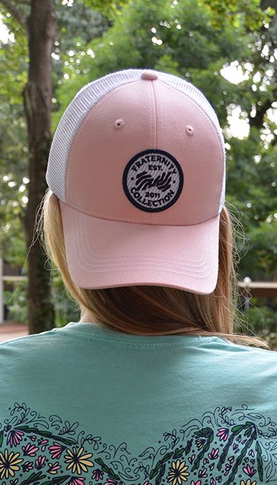 Pink & Baby Blue Seersucker Trucker Hat - Fraternity Collection