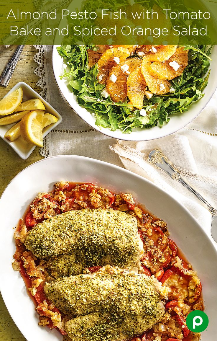"When your family asks,""what's for dinner?"" They will never expect you to say Almond Pesto Fish with Tomato Bake and Spiced Orange Salad. Publix Aprons is full of surprises."