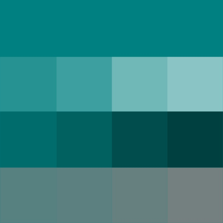 Teal - (Hue) ( pure color ) with Tints (hue + white), Shades (hue + black) and Tones (hue + grey, which desaturates the Hue)