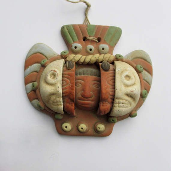 Terra Cotta Mexican Death Mask  Clay Pottery Pre Columbian