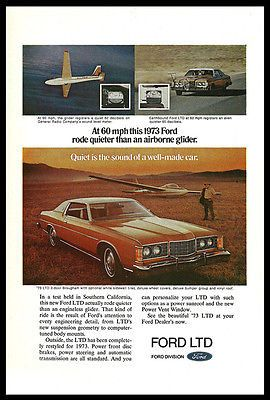 Ford LTD 1973 Ad Brougham Auto Car Photo Illustrated Print Advertisement