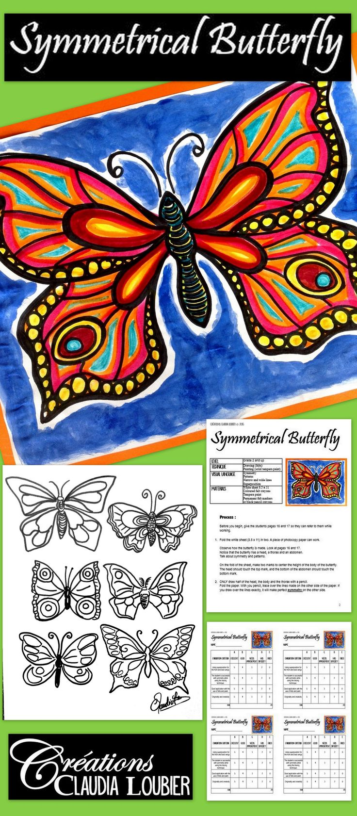 Spring has arrived, and with it...BUTTERFLIES! Teach your students how to make magnificent butterflies, while working on many different art techniques like symmetry, lines and patterns. For grades 2 and up. Grade 1 students are able to do this as well ,with more supervision.   This document contains the complete process on how to make this project a reality, evaluation rubric and explanatory photos.