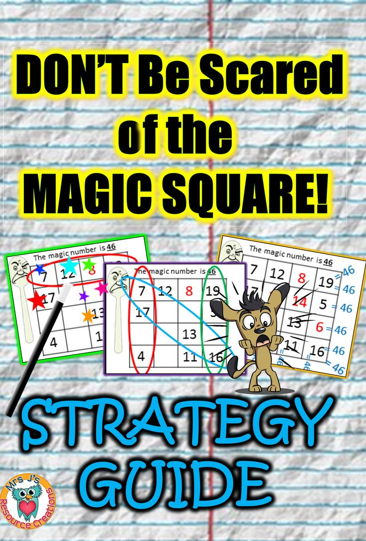 Strategy guide to solving magic squares for students who need a bit of extra help tackling these.