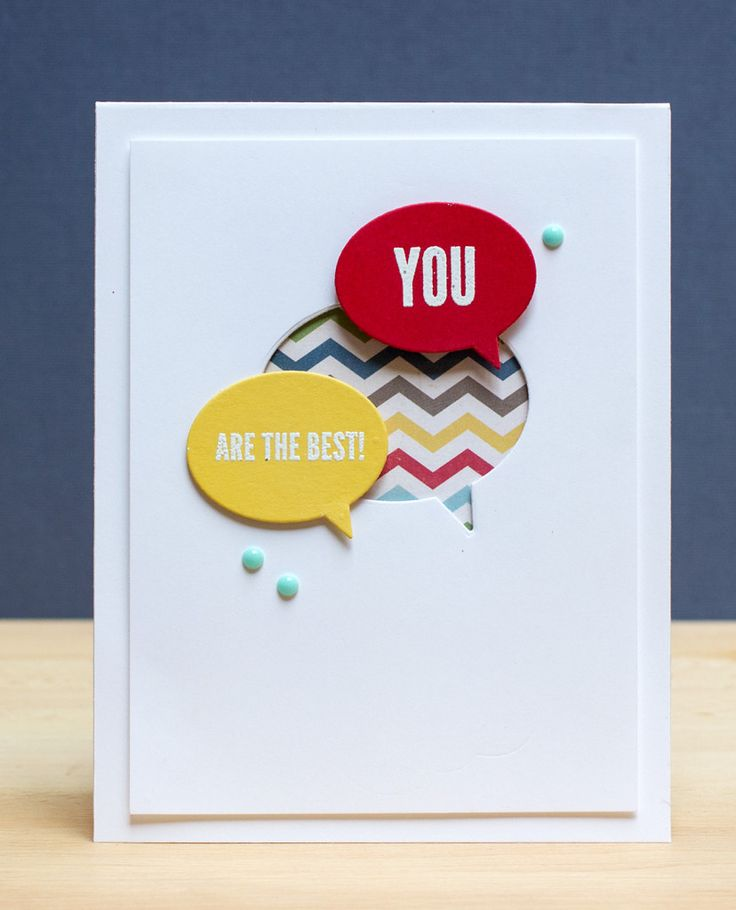 You are the best card by Jean (Supplies: Simple Stories Patterned Paper; Stampin' Up cardstock; My Mind's Eye enamel dots; My Favorite Things Say What Dies; Simon Says Stamp sentiments; Versamark; Hero Arts white embossing powder; Neenah white cardstock)