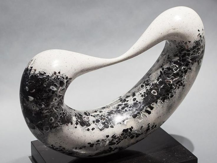 Bridge #7- abstract sculpture - Jeremy Guy. Eng'd black granite, white marble & sea shells 18H x 16W x 5D